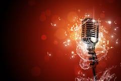 Retro achtergrond van de microfoonmuziek Royalty-vrije Stock Afbeelding
