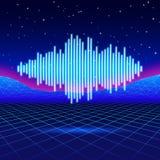 Retro achtergrond van het gokkenneon met glanzende muziekgolf vector illustratie