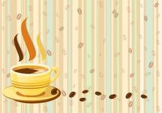 Retro achtergrond van verse kop van koffie Royalty-vrije Stock Afbeelding