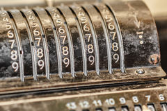 Retro adding machine. Closeup shot countable panel royalty free stock image