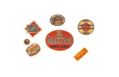 Retro adhesives. Of paris and hotels around the world Royalty Free Stock Photos