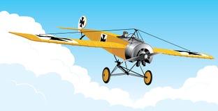 Retro aeroplano nel cielo Immagini Stock Libere da Diritti