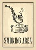Retro affiche - het Teken het Roken GEBIED in Uitstekende Stijl Vector gegraveerde die illustratie op donkere achtergrond wordt g Royalty-vrije Stock Afbeelding