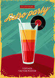 Retro affiche met cocktailglas Uitstekende partij Stock Foto's