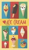 Retro affiche met verschillende soorten vlakke ontwerp lange elft Royalty-vrije Stock Foto