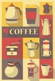 Retro affiche of prentbriefkaar met verschillende types van koffie po Stock Illustratie