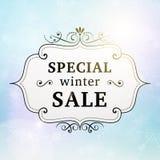 Retro affiche van de de winter de speciale verkoop Stock Afbeelding