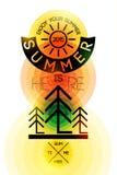 Retro affiche van de de zomertijd Vector typografisch ontwerp met kleurrijke cirkelachtergrond Eps 10 Stock Afbeeldingen