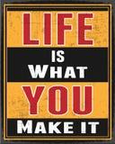 Retro Affiche van het Leven is wat u het maakt Royalty-vrije Stock Afbeeldingen