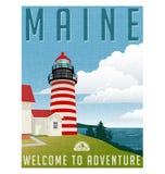 Retro affiche Verenigde Staten, Maine-vuurtoren van de stijlreis Stock Afbeelding