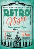 Retro affiche voor aanplakbord met saxofoon en piano Stock Afbeelding