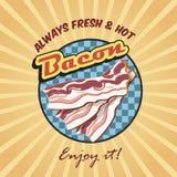 Retro affisch för bacon Arkivbilder