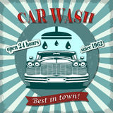 Retro affisch för biltvätt arkivbilder