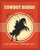 Retro affisch för gammal västra cowboyrodeo stock illustrationer
