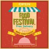 Retro affisch för matfestival Arkivbilder