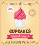 Retro affisch för muffin Royaltyfri Foto