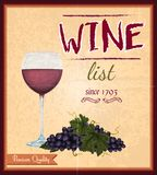 Retro affisch för vinlista Royaltyfri Foto