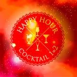 Retro affisch för drink för lycklig timme för design med logo och Arkivfoton