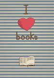 Retro affisch. Jag älskar böcker. Royaltyfria Foton
