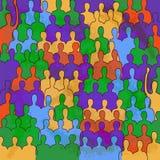 Retro affisch med färgfolk Arkivfoto