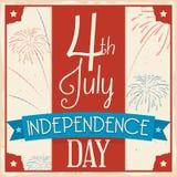 Retro affisch med fyrverkerier för 4th av Juli beröm, vektorillustration Arkivfoto