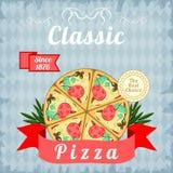 Retro affisch med klassisk pizza Fotografering för Bildbyråer