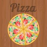 Retro affisch med pizza över trä Royaltyfria Foton