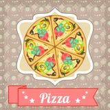Retro affisch med pizza- och raksträckabandet Royaltyfri Foto