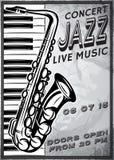 Retro affisch med saxofonen och piano för jazzfestival Arkivbilder