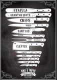 Retro affisch med uppsättningen av olika typer av knivar Royaltyfri Foto