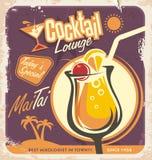 Retro affischdesign för en av de populäraste coctailarna stock illustrationer