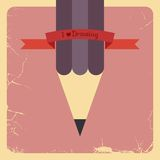 Retro affischdesign med blyertspennan. Vektor Arkivbilder