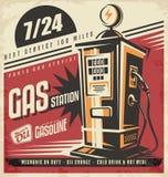 Retro affischdesignmall för gasstationj Arkivbild