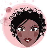 Retro Afro American Woman with curly hair Stock Image
