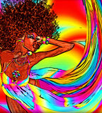Retro Afro woman in a modern digital art style. An afro hairstyle is depicted with a digital art oil painting effect for an added feel of modern art to this Royalty Free Stock Image
