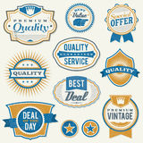 Retro aged business labels and badges. Set of vector vintage retail labels and badges. Illustrator eps available Stock Photos