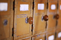 Retro aged mail box with key Stock Photography