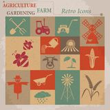 Retro agriculture icons. Vector illustration Stock Photography