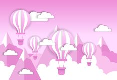 Retro Air Balloon Over Pink Clouds And Mountains Background Valentine Day Concept. Flat Vector Illustration Stock Photo