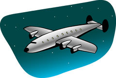 Retro airliner. On night sky Stock Photography