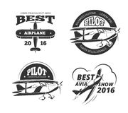 Retro airplane, aircraft vector labels set Stock Image