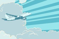 Retro airplane flying in the clouds. Air travel background. Pop art retro vector illustration royalty free illustration