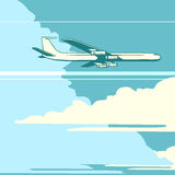 Retro airplane in the sky. Pop art retro style. Transport and travel. A passenger plane. Speed and height. The concept of speed and altitude vector illustration