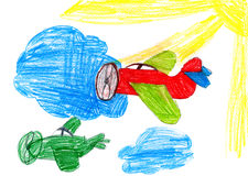 Retro airplanes. children drawing Royalty Free Stock Photography