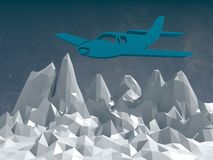 Retro airplanes flight above low poly landscape Stock Image