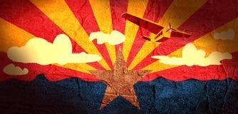 Retro airplanes flight on arizona flag background Stock Photos
