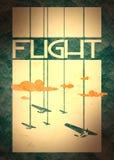 Retro airplanes flight on striped backdrop Stock Photos