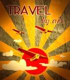 Retro airplanes flight on sun burst backdrop Royalty Free Stock Images