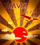 Retro airplanes flight on sun burst backdrop Royalty Free Stock Photo