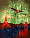 Retro airplanes fly to big ben from eifel tower Stock Photo